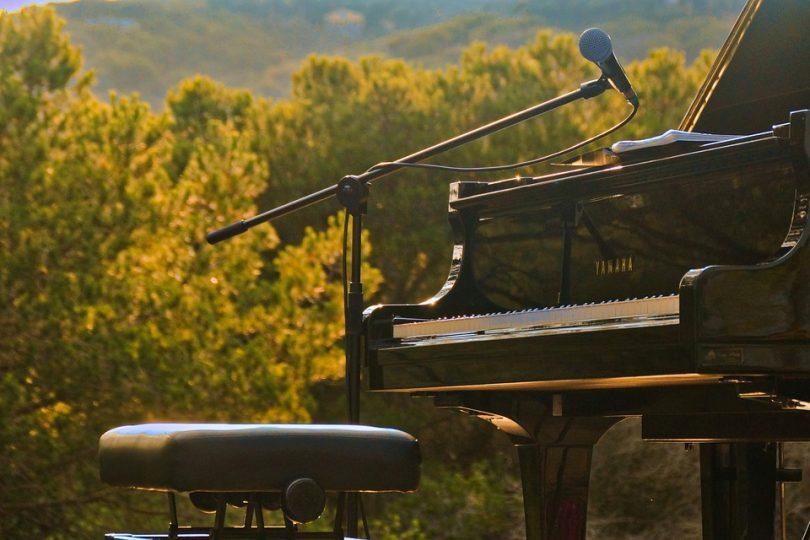 """alt=''pianoforte nero di fronte agli alberi"""""""
